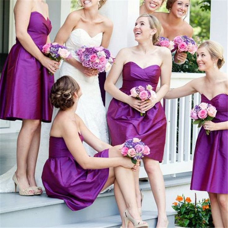 Cheap dress designs for weddings, Buy Quality dress me prom dresses directly from China dress support Suppliers: New Arrive Purple Bridesmaid Dresses Short Sweetheart A-line Taffeta Wedding Party Dress Sleeveless Maid of Honor Dress Custom