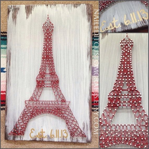 Torre Eiffel, cadena arte, decoración de París, Francés, regalo de aniversario, dormitorio, habitación adolescente, inauguración de la casa, regalo lejos va, madera aniversario de algodón