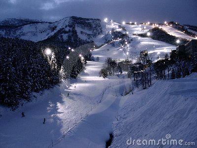 Snowboarding and skiing area at Grand Hirafu, Niseko in Japan