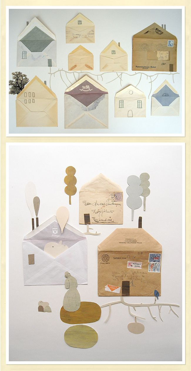 Sweet House Art out of used envelopes