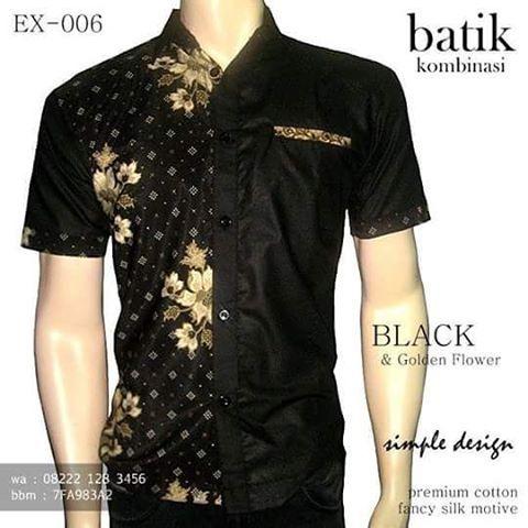BATIK KOMBINASI PRIA Black & Golden Flower, SERAGAM BATIK ELEGAN, Batik Kantor Eksklusif, Batik Pria Warna HITAM, http://instagram.com/batik_kombinasi, http://www.tokopedia.com/rajapadmibatik, http://www.fb.com/batikpriamodern, WA : 08222 128 3456, BBM : 5E72 A3A9