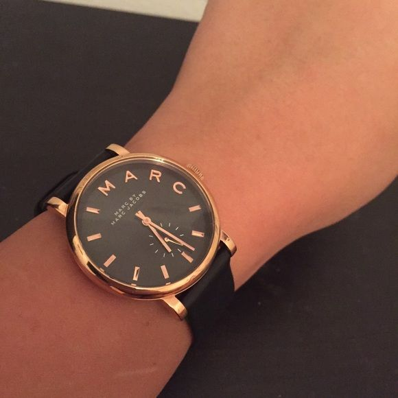 Marc Jacob's Watch Gorgeous black leather and rose gold Marc by Marc Jacob's watch. Worn 3 times. Simple & stylish. Cheaper on M. Marc by Marc Jacobs Accessories Watches