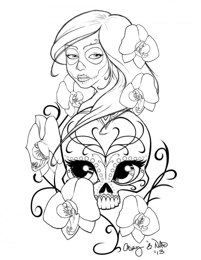 New Sugar Skull Drawing And Coloring 211158 Sugar Skull Coloring Page