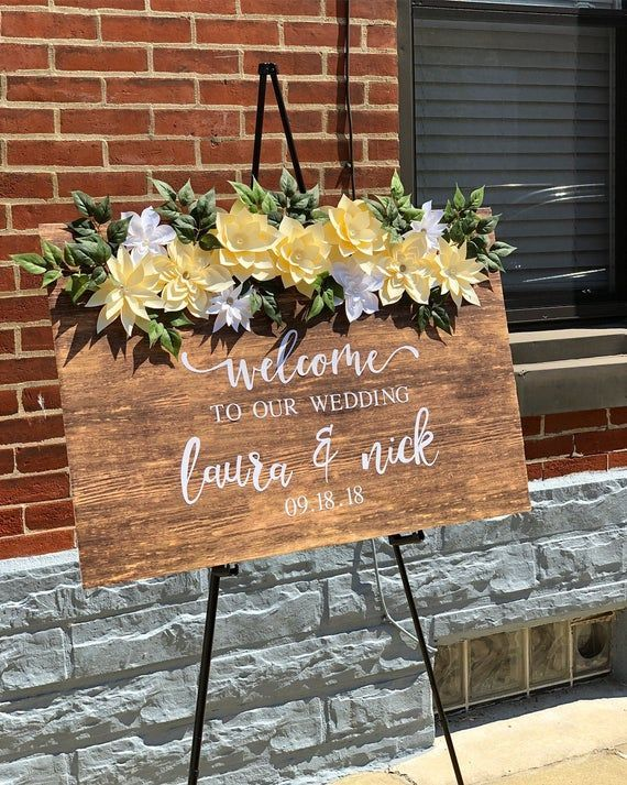 Wedding Welcome Sign Welcome Sign Wedding Wedding Wood Sign Faux Wood Rustic Wedding Rustic Wood Welcome Sign Paper Flowers Weddingwelcomesign Wood Wedding Signs Wedding Welcome Signs Wedding Welcome