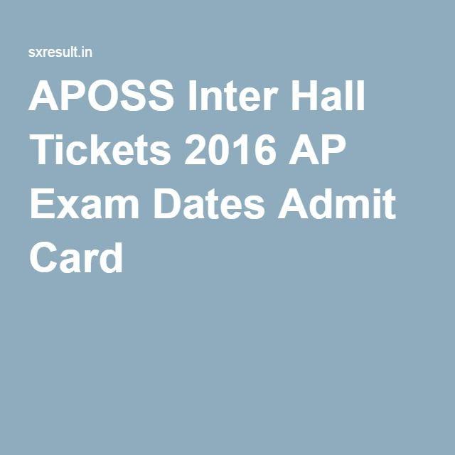 APOSS Inter Hall Tickets 2016 AP Exam Dates Admit Card