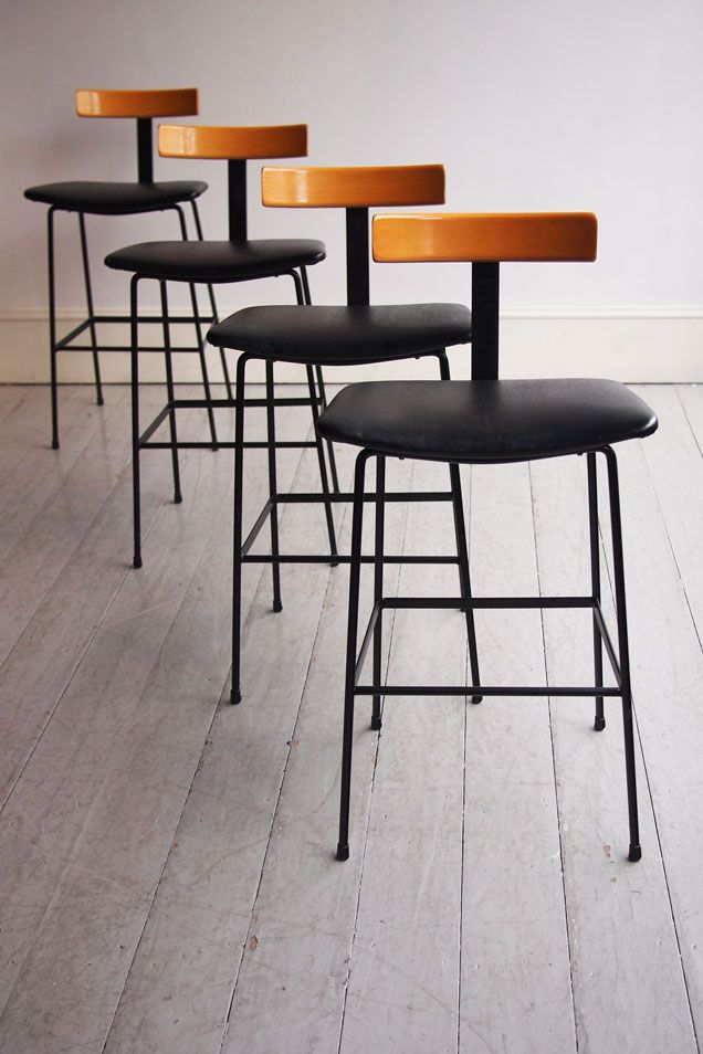 1950s bar stools designed by Frank Guille for Kandya in 1957