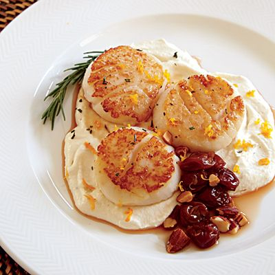 Scallops with Celery Root and Bourbon-Browned Butter Cherries
