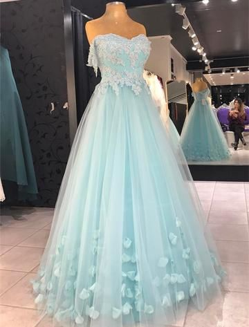 Baby Blue Appliques Prom Dress, Sexy Tulle Prom