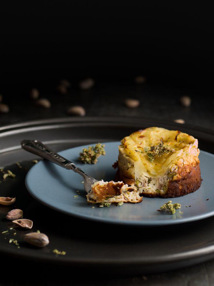 Ricotta, pistachio and potato mini cakes