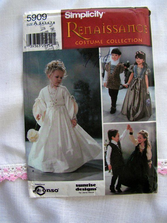 e3fd0f974794 Simplicity 5909 | Renaissance Wedding Flower Girl Dress Costume | Child 4-7  | cut used sewing patter
