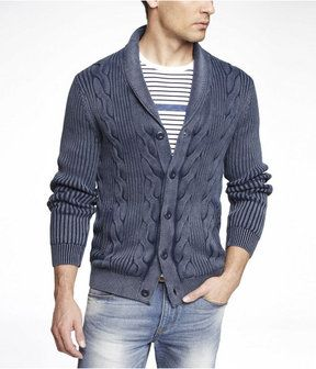 Acid Wash Cable Knit Shawl Collar Cardigan on shopstyle.com