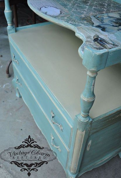 how to decoupage drawer fronts, painted furniture, ASCP Duck Egg and Country Blue French Provincial Server with decoupaged top
