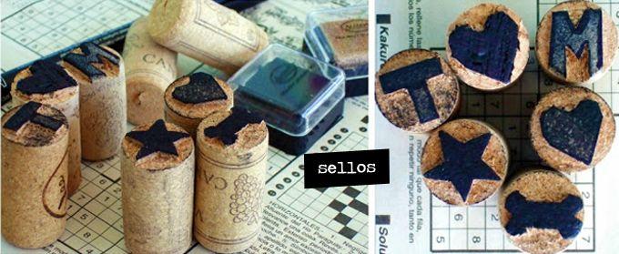 Mucho vino hay que beber para hacer sellos corcho Let's do it! #handmade