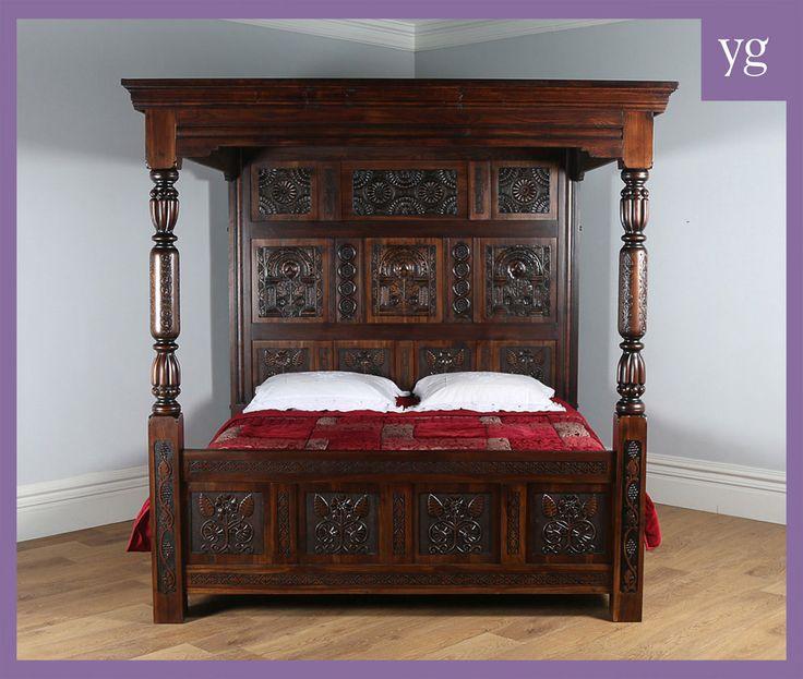 Antique tudor style oak hardwood full tester four poster super king size 6ft bed