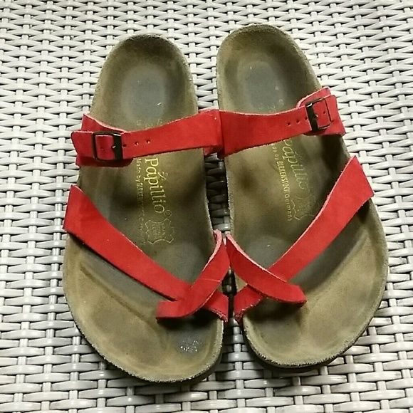 RED BIRKENSTOCK PAPILLIO SANDALS Previously owned good condition. Please review all pictures thoroughly.  L 9 Men 7. Birkenstock 260 birkenstock  Shoes Sandals