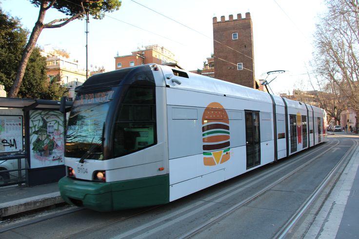 A Roma 1 Tram wrapped in a McDonalds advertisement in Trastevere. #trams #train #tram #lightrail #trolley #fiatalstom