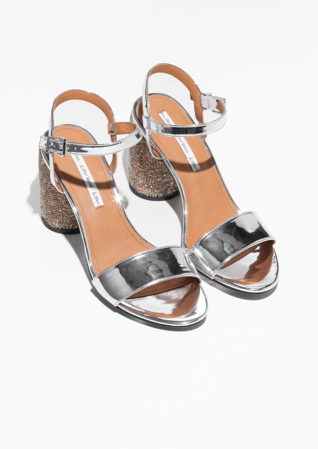 18a2071ac267   Other Stories image 2 of Rhinestone Heel Sandalette in Silver