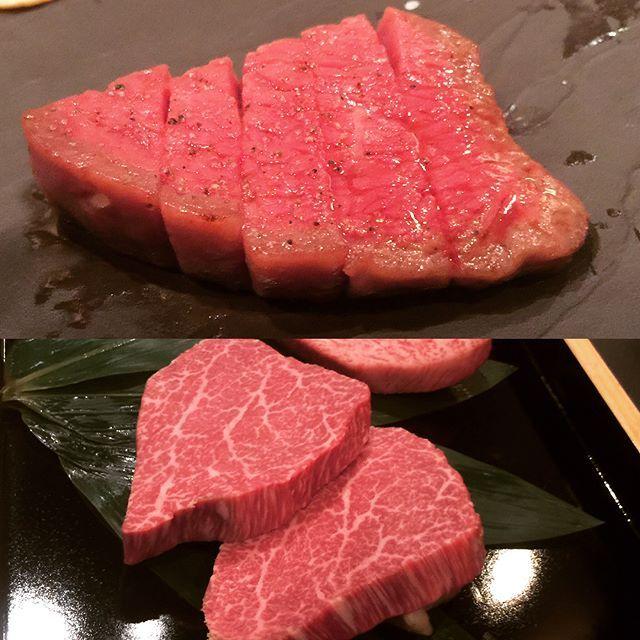 """大好きなお店のステーキ&シーフード🍴 . この日の肉はシャトーブリアン、A5の12番 . シャトーブリアンとは、ヘレ肉のど真ん中の肉の事で、フランスの貴族シャトーブリアンさんが、そこしか食べなかったから名付けられたとか‥。 . ヘレ肉は一頭で80㎝くらいで、シャトーブリアンは、その内の10㎝だけ。 . この店の真髄は、以前にも書いたけどステーキの焼き方、レアより2段階生に近いブルー《blue》。 . 標準は数秒だけ焼くらしいけど、それでは肉が冷たいので、この店では肉が 温まるまで鉄板の温度を下げて、しっかり焼くと言うよりは温めてる . 食べると肉が温かいので、全く生っぽくなく、究極のステーキ . 次の写真は魚料理。魚は太刀魚。 鉄板で焼いて、バーナーで皮の部分に焦げ目つけて調理 . 口の中でトロけるような柔らかさ。 とにかく美味しいとしか言えない . This is my favorite Teppanyaki restaurant ! Sliced meat """"chateaubriand"""" and fish ''cutlassfish"""" grilled on a hot…"""