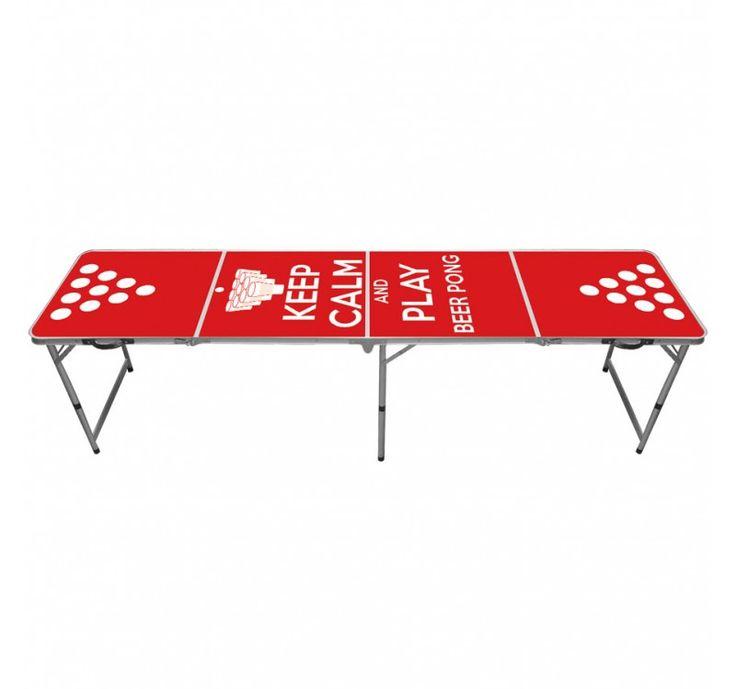 Table de beer pong officielle Keep Calm and play beer pong ! Table de bière pong aux dimensions officielles pour tournoi ou soirée apero. Cette table de beer pong est pliable et transportable sous forme de malette. Dimensions : 240 x 60 cm