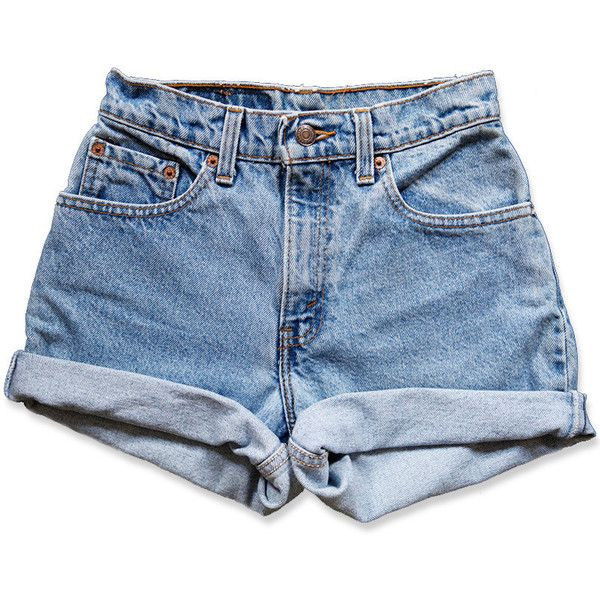 Vintage 90s Levi's Medium Blue Wash High Waisted Rise Cut Offs Cuffed... (3.105 RUB) ❤ liked on Polyvore