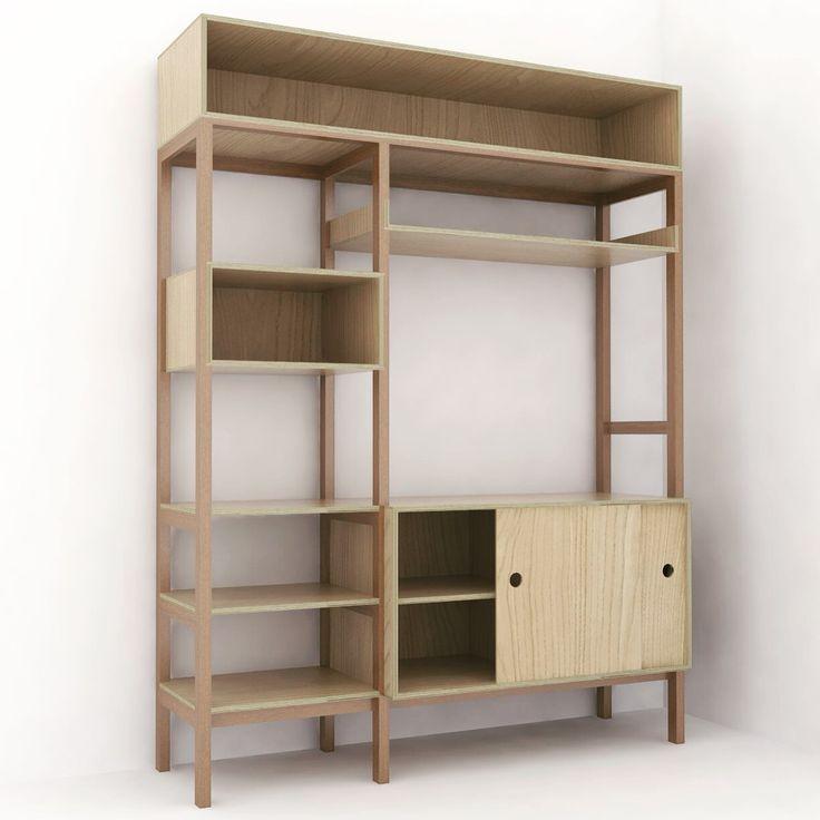 Mueble estanteria para la cocina de Octavi y Julia. Estructura de madera de iroko. Cajas en contrachapado de abedul.