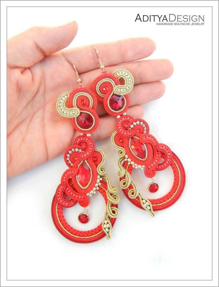 Soutache Earrings, Red Gold Earrings, Handmade, Statement Jewelry, Dangling Earrings, Long Earrings, Beaded Earrings