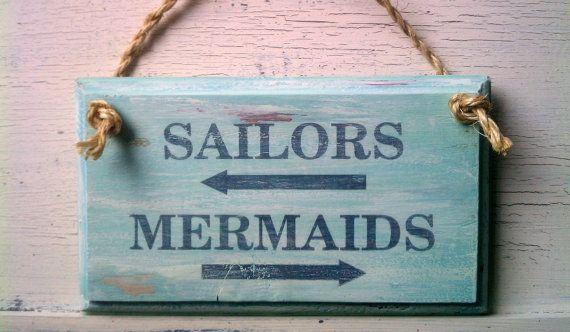 Restroom Sign Beach Decor MERMAIDS & SAILORS by HickoryandLace