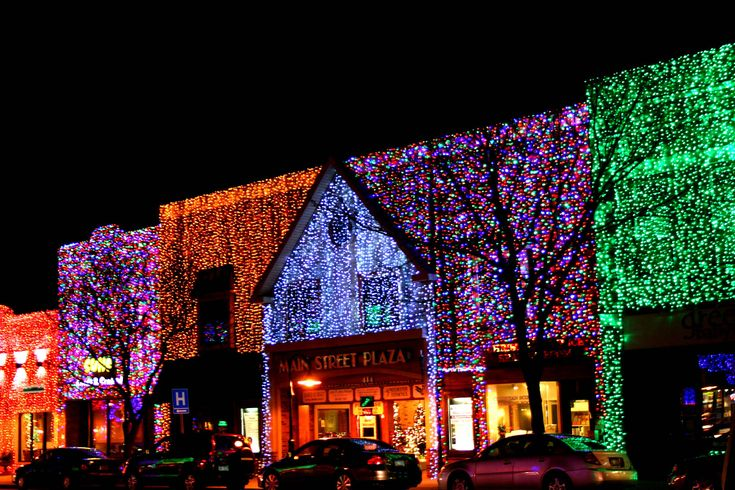 In downtown Rochester Hills, Michigan, at Christmastime the town ...