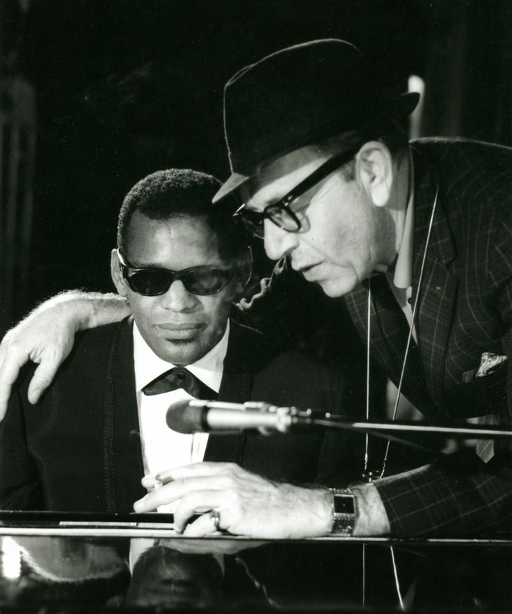 Set photo of Ray Charles and director  Paul Henreid at the shooting of Ballad In Blue (at the Gaiety Theatre in Dublin) on or around June 9, 1964 (coll. J. Dufour).
