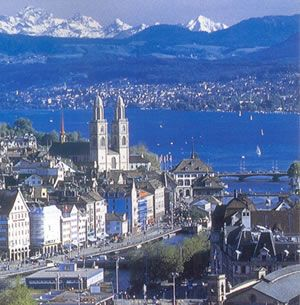 Zurich, Switzerland.I remember waking up and hearing bells.Opening the hotel window to see cows grazing that had big bells around their necks....too cute.Loved this beautiful city remember seeing people with dogs in resteraunts and in the stores.