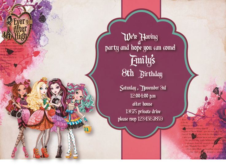 Ever After High Party Invitations