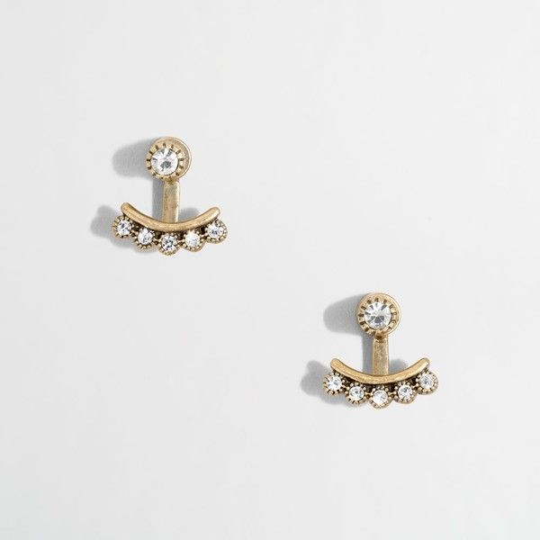 J.Crew Factory crystal buds ear jackets ($11) ❤ liked on Polyvore featuring jewelry, earrings, crystal earrings, crystal stone jewelry, j crew earrings, crystal jewellery and j crew jewelry
