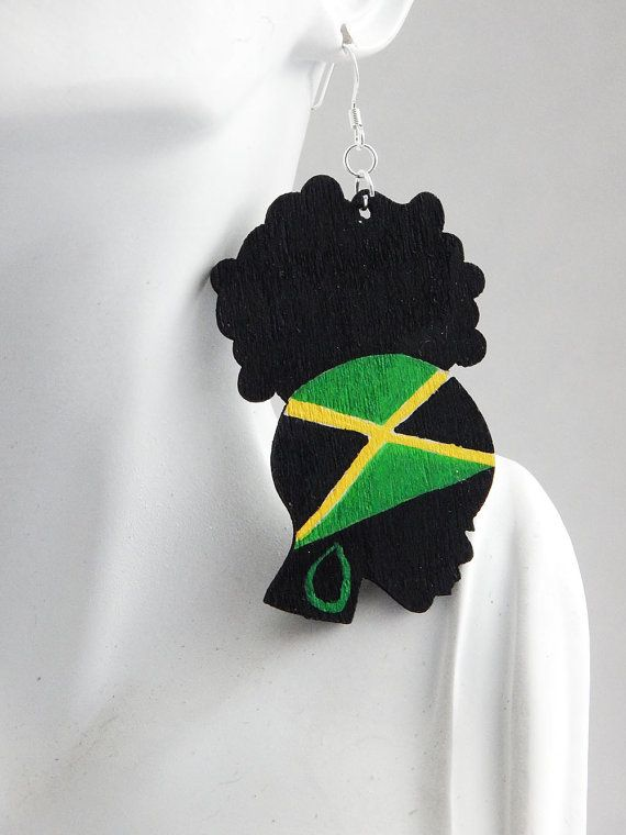 Jamaica Earrings Jamaica Flag Jewelry Afro Puff Earrings Wood Hand Painted Statement Cute Ladies Natural Hair Jewellery African Jamaican