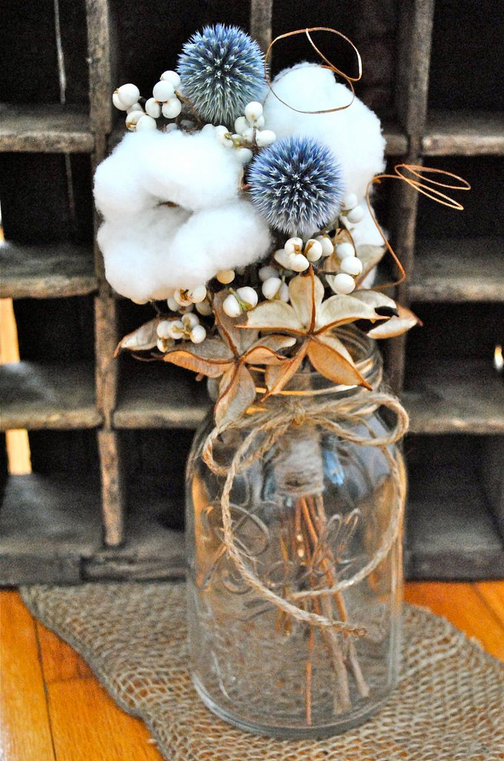 Cotton Centerpiece Bouquets - Raw Cotton -  Natural Cotton - Wedding - Rehearsal Dinner - Bridal Shower - Anniversary - Home Decor. $45.00, via Etsy.