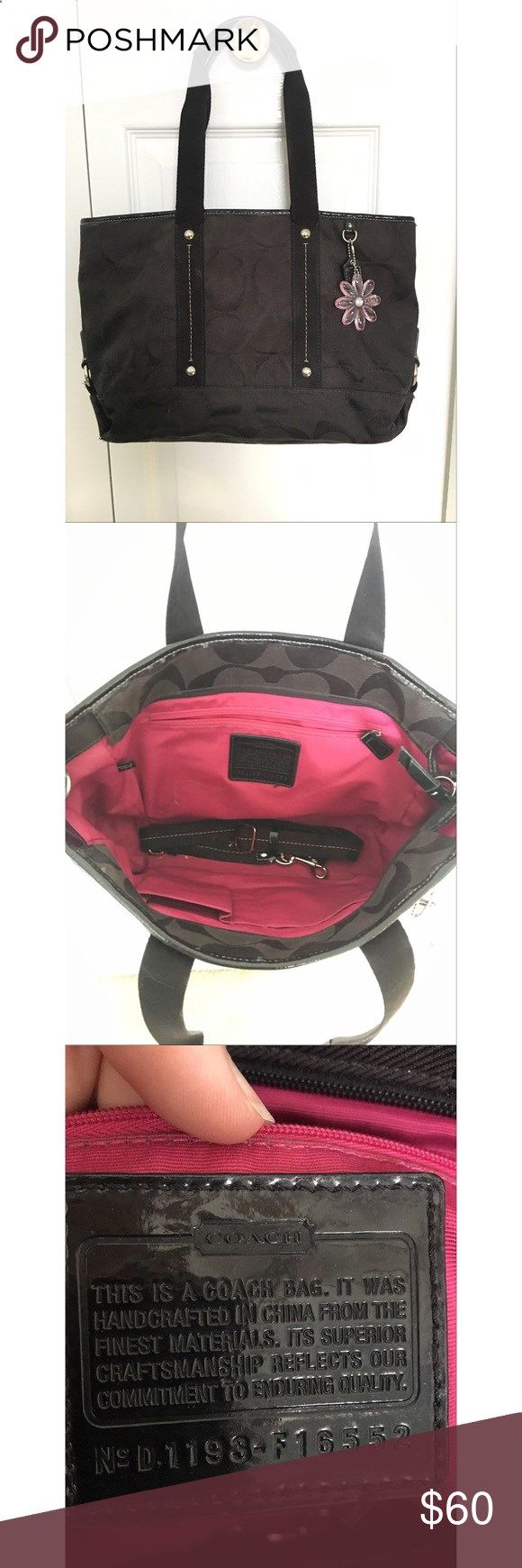 Black coach purse Black coach purse, pink lining inside, gently used,smoke free home Coach Bags Totes