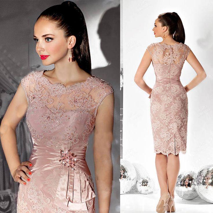 Vintage Short Dusty Pink Mother Of The Bride Dresses   Lace Knee Length Groom Mother Dress Formal Wedding Guest Dress