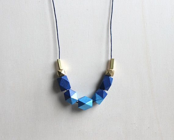 blue wooden geometric necklace // modern by BelleAccessoires