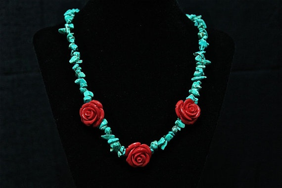 Turquoise and red rose necklace
