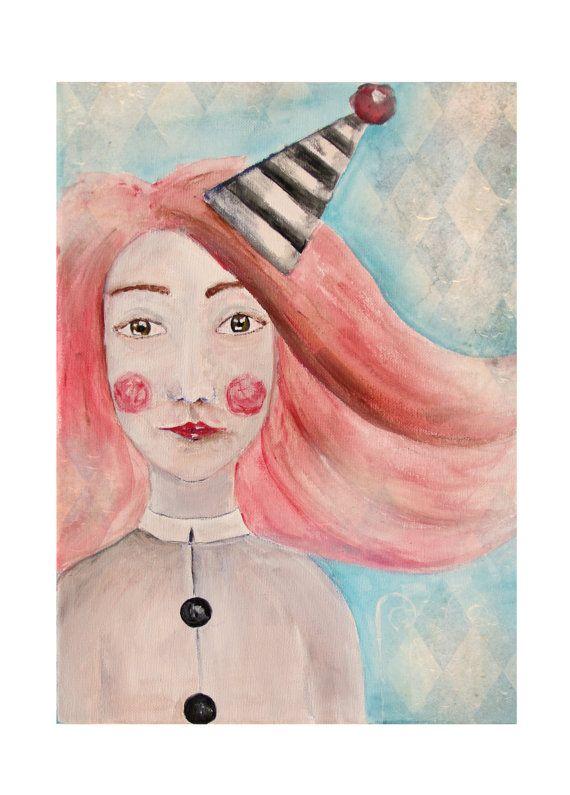 Circus art Painting portrait Pierrot girl by NataliesWunderland