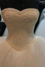 Халат де Mariage роскошный жемчуг кружевные аппликации тюль бальные платья свадебное платье 2016 винтаж платье невесты Vestido де Noiva(China (Mainland))