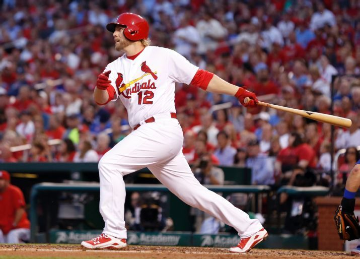 Mark Reynolds watches his grand slam during the first inning of a game against the Cubs,May 4, 2015. (AP Photo/Jeff Roberson)