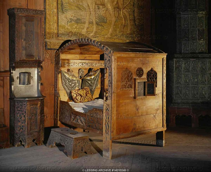 RENAISSANCE FURNITURE 19TH Bed Of The 16th. Kreuzenstein Castle. The Castle  Is A 19th
