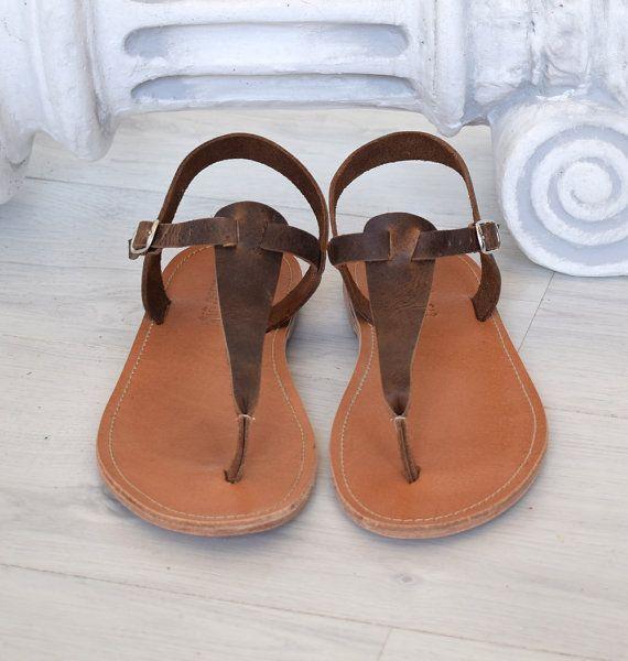Bruine sandalen, T bar sandalen, Spartaanse sandalen, Romeinse sandalen, mannen sandalen, gladiator sandalen, oude Griekse lederen sandalen
