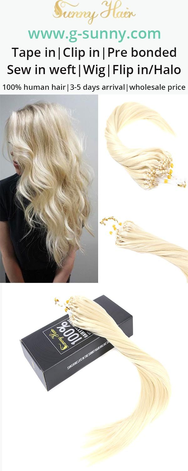 Sunny Hair 100% remy human hair extensions, micro ring human hair extensions. Blonde color hair. Factory directly selling with wholesale price. www.g-sunny.com