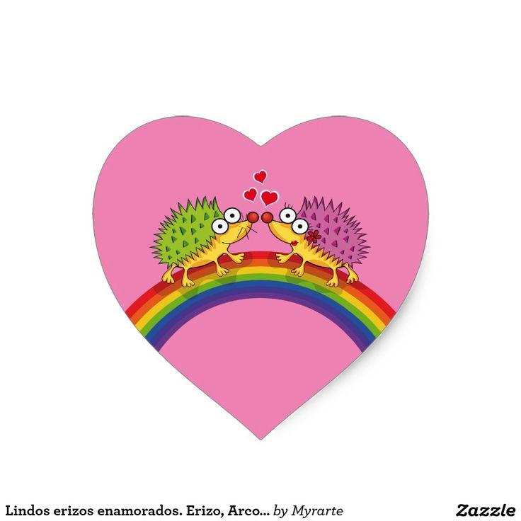 Lindos erizos enamorados. Erizo, Arcoiris. Día de los enamorados, amor. Valentine's Day, love. Producto disponible en tienda Zazzle. Product available in Zazzle store. Regalos, Gifts. Link to product: http://www.zazzle.com/lindos_erizos_enamorados_erizo_arcoiris_heart_sticker-217567520108737309?CMPN=shareicon&lang=en&social=true&rf=238167879144476949 #ValentinesDay #SanValentin #love #sticker #erizo #hedgehog