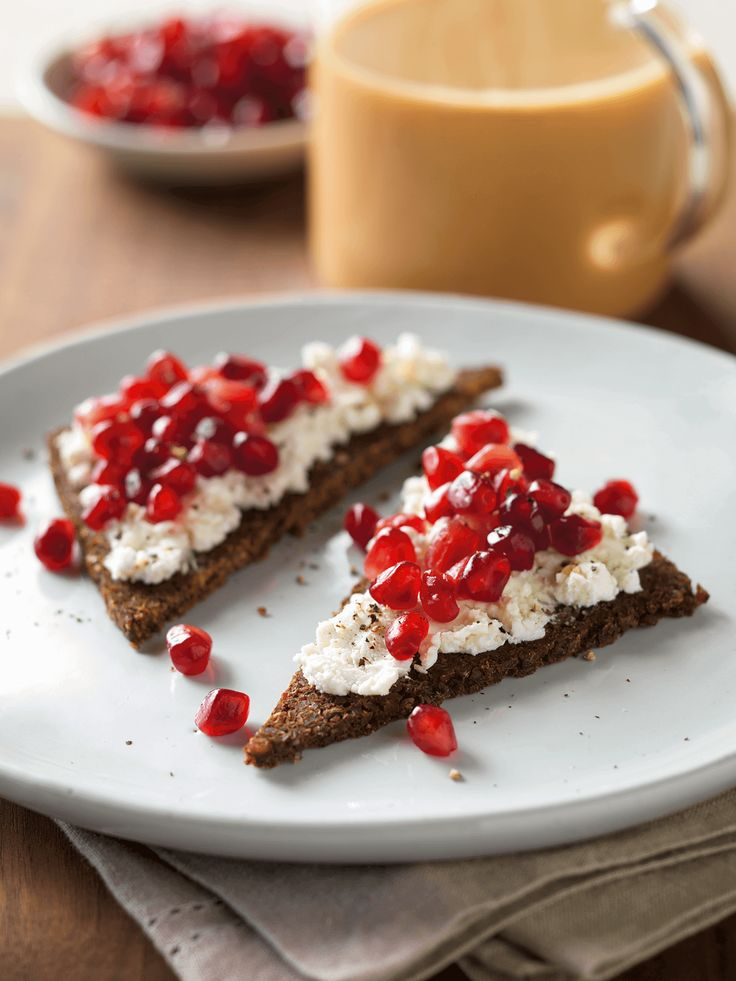 Padma Lakshmi's Pomegranate & Goat Cheese on Pumpernickel Toast: A delicious excuse to use those pomegranate seeds. You can whip up this gorgeous snack and serve it to guests with a sweet and spicy chai latte. Click through for this  recipe and more delicious chai latte pairings.