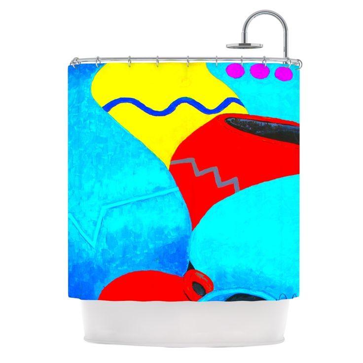 Kess InHouse Oriana Cordero Terracotta Aqua Red Shower Curtain