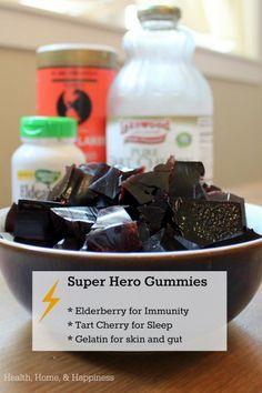 SUPERHERO Gummies – Tart Cherry for Sleep, Elderberry Flowers and Berries for Immunity, and Gelatin for skin