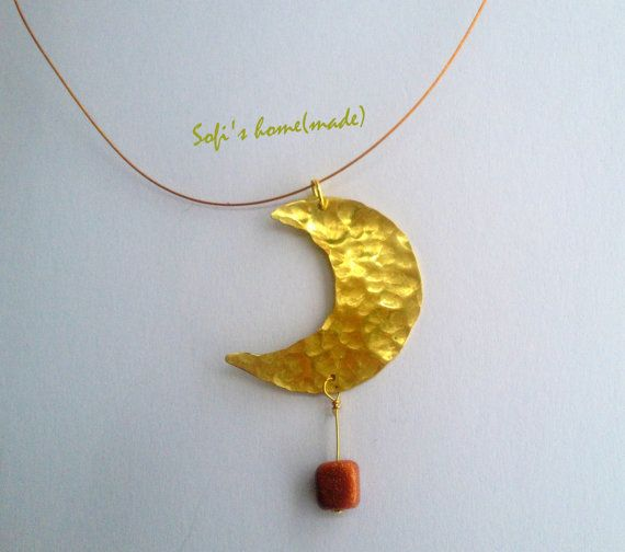 Handmade brass moon necklace with chrysolite bead or black bead plus free gift