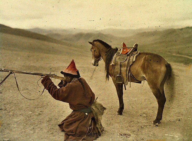 Hunter, near Urga, Mongolia, 20 July 1913, Stéphane Passet, public domain via Wikimedia Commons.